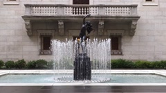 Boston public library outdoor fountain Stock Footage