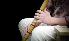 Hand play Traditional bamboo Japanese flute Kuvituskuvat