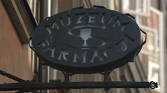 Antonina Leśniewska Museum of Pharmacy sign in Warsaw Stock Footage