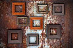 Picture frames on abstract surface ready for your design Stock Photos