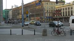 Driving on Aleje Jerozolimskie street and Nowy Swiat street in Warsaw Stock Footage