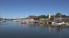 The guest marina (in 4k) on Suomenlinna, Helsinki, Finland. Stock Footage