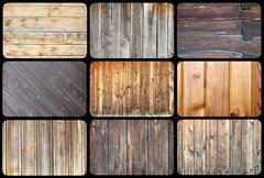 collection of wood plank textures, many samples for your design - stock photo