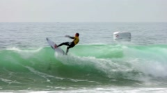 Mick Fanning (AUS) surfing during the during the Moche Rip Curl Pro Portugal Stock Footage