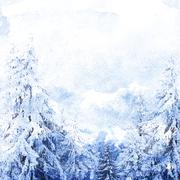 Watercolor winter landscape - stock illustration