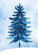 Watercolor winter fir tree Stock Illustration