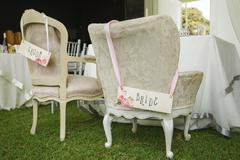 DIY chairs for bride and groom Stock Photos