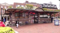 Harvard square in Cambridge MA Stock Footage