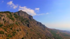 Famous Mountain Demerdzhi At Sunny Day in Crimea Stock Footage