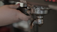Espresso filter loaded in machine Stock Footage