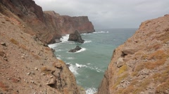 Cliff Line of Madeira. Island of Portugal in the Atlantic Ocean Stock Footage