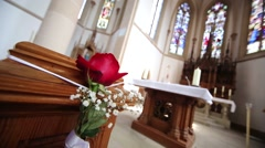 Flower decoration in a church for wedding Stock Footage
