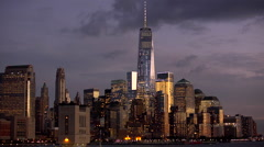 New York City skyline at dusk - stock footage