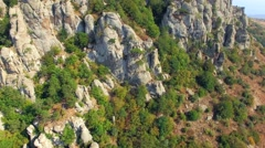 AERIAL VIEW. Rocky Formations On Slope Of Mountain Demerji Stock Footage