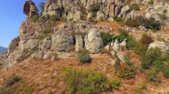 AERIAL VIEW. Famous Valley Of Ghosts At Mountain Demerji In Crimea - stock footage