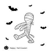 mummy halloween cartoon - stock illustration