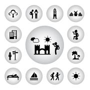 basic icon for backpack traveler explorer - stock illustration