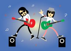 Singer rock star cartoon Stock Illustration