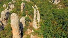 AERIAL VIEW. Boulders In Famous Valley Of Ghosts At Mountain Demerji In Crimea - stock footage
