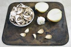 Crimini Mushrooms (Agaricus bisporus) Stock Photos