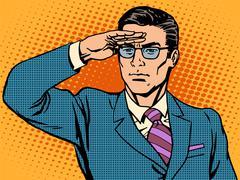 Watchman businessman leader looks ahead - stock illustration
