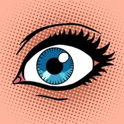 Beautiful female eye with make-up - stock illustration