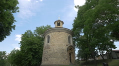View of Rotunda of Saint Martin in Prague Stock Footage