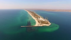 AERIAL VIEW. Land Tongue In Lake Donuzlav In Crimea Stock Footage