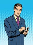 Male businessman with a notebook - stock illustration