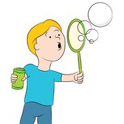 Blowing Bubbles Kid Stock Illustration