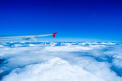 Stock Photo of Airplane flying above clouds