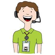 Call Center Agent Lanyard Stock Illustration