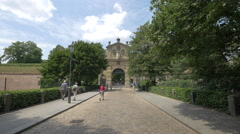 People walking near the Leopold Gate in Prague Stock Footage