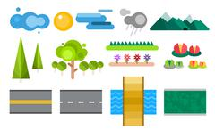 Landscape constructor icons set - stock illustration