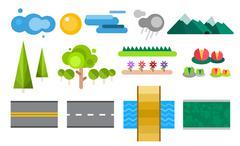 Landscape constructor icons set Stock Illustration
