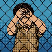 Child boy refugee migrants behind bars the prison boundary - stock illustration