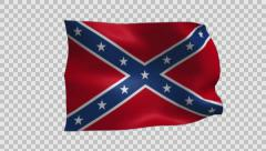 Confederate Flag Waving with Alpha Channel Stock Footage