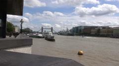 Tower Bridge And HMS Belfast - London - Timelapse Stock Footage