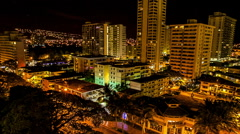 Oahu Waikiki morning skyline zoom into hi-rise. Stock Footage