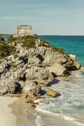 God of Winds Temple guarding Tulum's sea entrance bay in Quintana Roo, Mexico Stock Photos