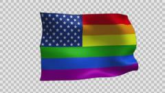 Gay Pride Alternative Flag Waving With Alpha Channel Stock Footage
