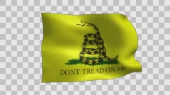 Gadsden Flag Waving With Alpha Channel Stock Footage