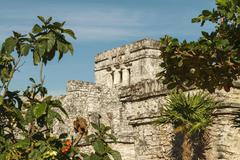 Castillo fortress in the ancient Mayan city of Tulum, Mexico Stock Photos