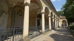 Columns and arches in Vysehrad cemetery, Prague Stock Footage