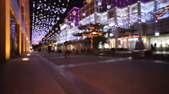 Street decorated with Christmas lights Stock Footage