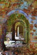 Ruins of old abandoned fort - stock photo