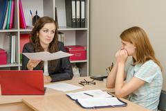 Stock Photo of Head scolds specialist office for improperly prepared documents