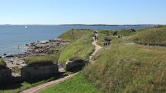 The view over the southern tip of Kustaanmiekka (in 4k), Suomenlinna, Finland. Stock Footage