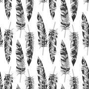 Vector monochrome feathers pattern Stock Illustration