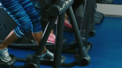 At a training session. Two attractive women are trained in the gym Stock Footage